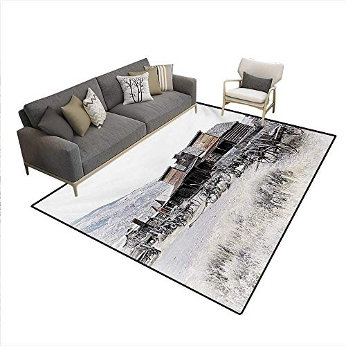 Floor Mat,Old Wooden Wagons from 20s in Ghost Town Antique Wyoming Wheels Artwork Print,3D Printing Area Rug,Brown White,6'x8'