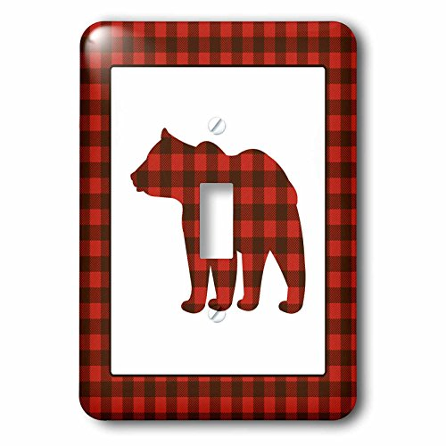 - 3dRose (LSP_254595_1 Single Toggle Switch Buffalo Plaid Bear