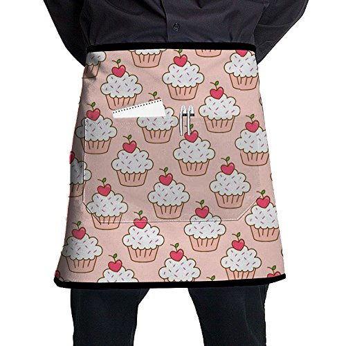 Sweet Cherry Cupcake Short Waist Apron Polyester Kitchen Half Chef Waiter Apron With Pockets