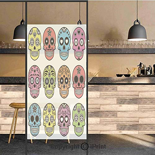 3D Decorative Privacy Window Films,Ornate Colorful Traditional Mexian Halloween Skull Icons Dead Humor Folk Art Print,No-Glue Self Static Cling Glass film for Home Bedroom Bathroom Kitchen Office 17.5
