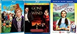 The Hollywood Trilogy - Willy Wonka and the Chocolate Factory, The Wizard of Oz (3-D, Blu-ray, Digital with Bonus Lunchbag) & Gone With the Wind (70th Anniversary Edition) 3-Classic Must See Set