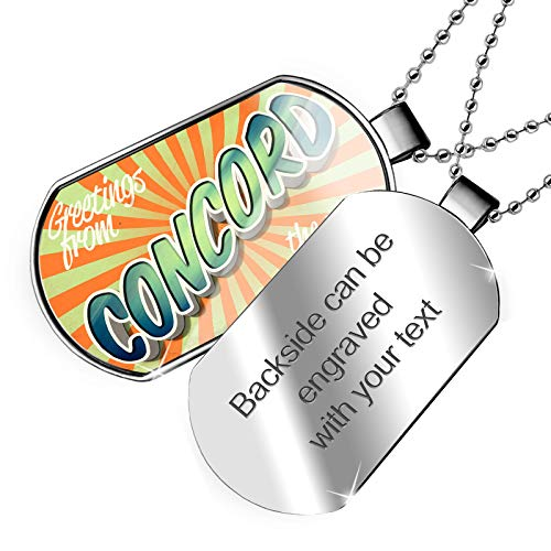 (NEONBLOND Personalized Name Engraved Greetings from Concord, Vintage Postcard Dogtag Necklace)