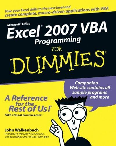 Excel 2007 VBA Programming For Dummies by Walkenbach, John