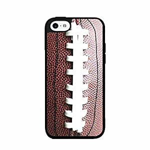 Brown Detailed Football Stitching 2-Piece Dual Layer Phone Case Back Cover iPhone 5 5s includes BleuReign(TM) Cloth and Warranty Label