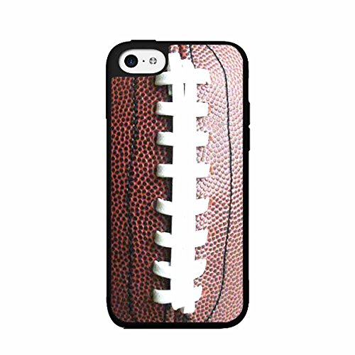 BleuReign(TM) Brown Detailed Football Stitching TPU RUBBER SILICONE Phone Case Back Cover iPhone 5 5s and iPhone SE ()