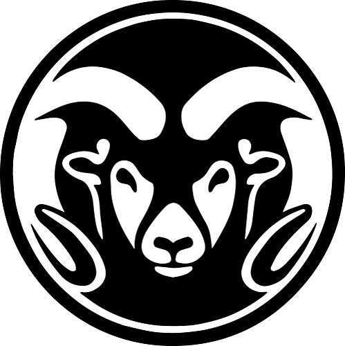 ANGDEST RAMS Colorado State University (Black) (Set of 2) Premium Waterproof Vinyl Decal Stickers for Laptop Phone Accessory Helmet Car Window Bumper Mug Tuber Cup Door Wall Decoration