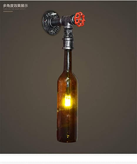 BAIF Antigua lámpara de Pared Edison Vidrio Botellas de Cerveza ...
