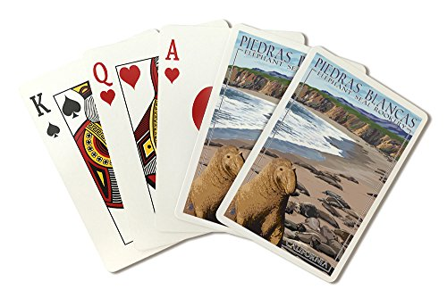 Piedras Blancas Elephant Seal Rookery - California (Playing Card Deck - 52 Card Poker Size with Jokers)