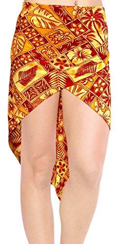 traje de baño traje de baño corto pareo de mini encubrimiento ropa de playa envoltura de la falda pareo rojo