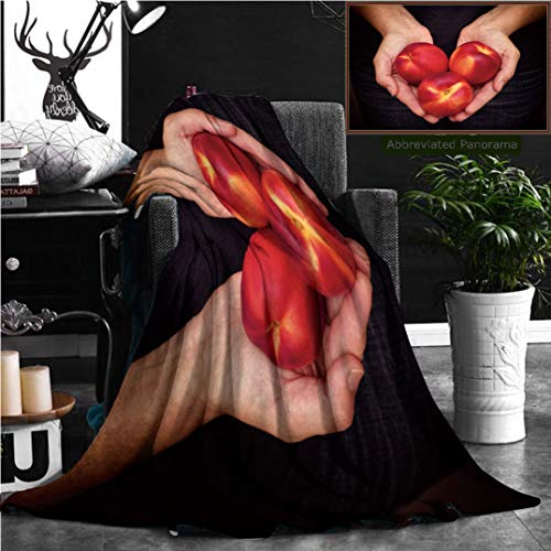 Nalagoo Unique Custom Flannel Blankets Woman Holds Fresh Harvested Flat Nectarines In Her Palms Closeup Super Soft Blanketry for Bed Couch, Throw Blanket 60