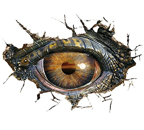 Mlide 3D Big Dinosaur Eye Wall Paper, Decorative Creative Removable Wall Stickers (Brown,50 x70cm) ()