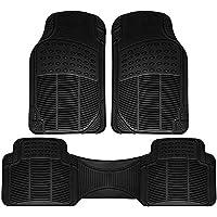 Estera de piso de caucho reforzado con ribete de ajuste completo de 3 piezas OxGord Universal Fit - (Negro)