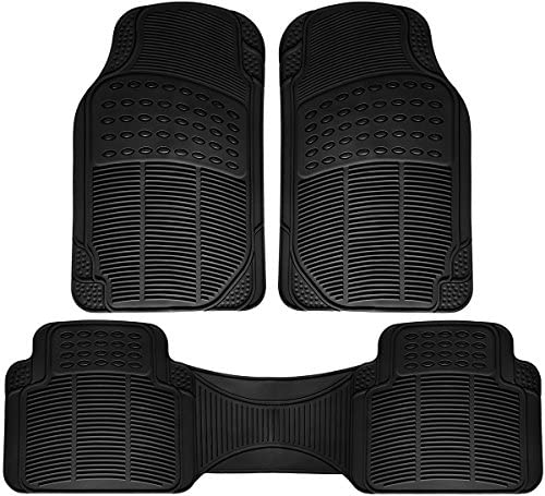 OxGord Car Floor Mats – All-Weather, Non-Slip, Odorless Rubber – Universal Fit Best for Car SUV Truck Van, Heavy Duty, Ridged Liner Protection Great for Catching Spills & Easy Rinse