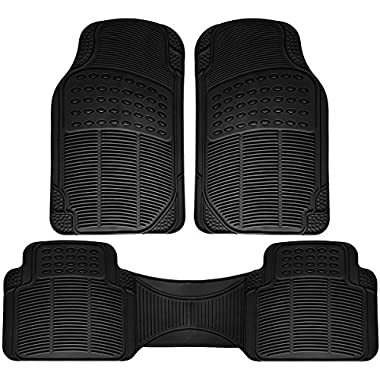All-Weather Rubber Floor Mats - Heavy Duty for Autos - 3 Piece Set