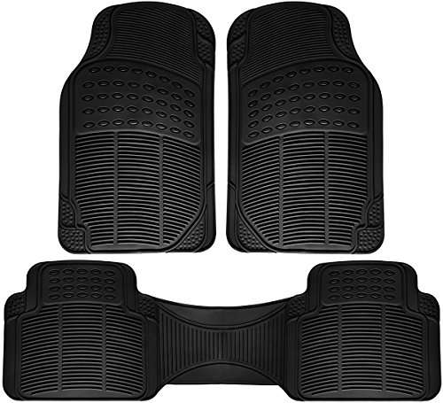 OxGord Ridged All-Weather Rubber Floor-Mats - Waterproof Protector for Spills, Dog, Pets, Car, SUV, Minivan, Truck - 3-Piece Set, Black