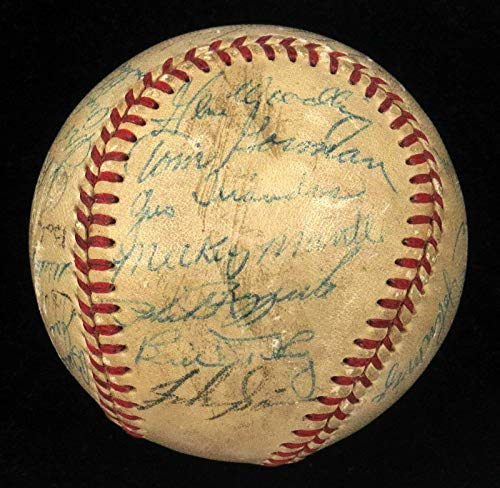 1953 New York Yankees World Series Champs Team Signed Baseball Mickey Mantle - JSA Certified - Autographed ()