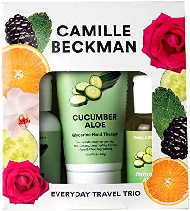 Camille Beckman Everyday Collection Travel Trios, Cucumber Aloe, Glycerine Hand Therapy 3 oz, Silken Body Cream 2 oz, Complete Cleansing Gel 2 oz