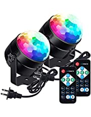 LUNSY Sound Activated Party Lights with Remote Control Dj Lighting RGB Disco Ball Light, Strobe Lamp 7 Modes Stage Par Light for Home Room Dance Parties Bar Xmas Wedding Show Club - 2PACK