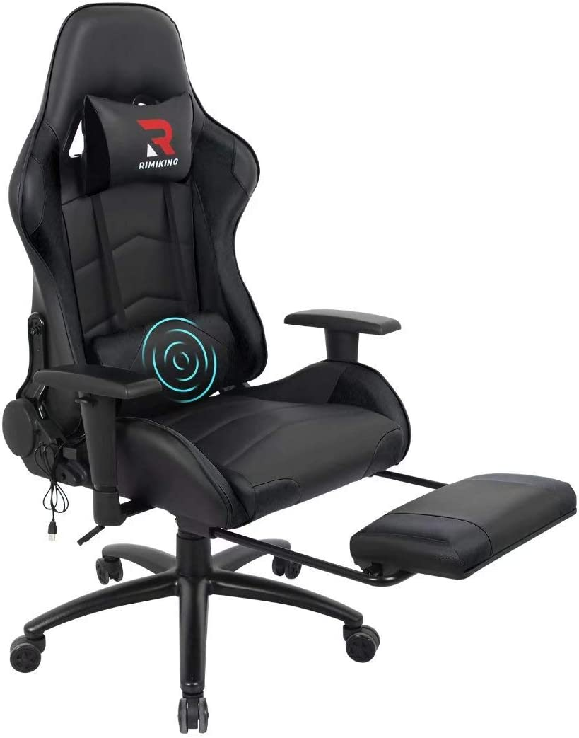 RIMIKING Massage Gaming Chair - Swivel Rocking Desk Racing Chair with Retractable Footrest Adjustable Lumbar Cushion Headrest Black