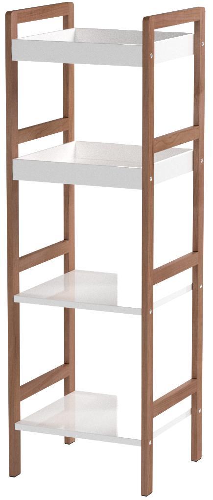 Zeller 18631 - Estantería Tipo Escalera (4 estantes, 36 x 33 x 110 cm, bambú y Fibra de Densidad Media), Color Blanco