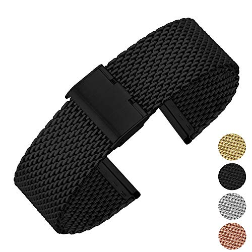 - High-end Fashion Stainless Steel Mesh Watch Band Watch Strap Mesh Band Bracelet Wrist with Hook Buckle Classic Polished for Men Women Black 12mm