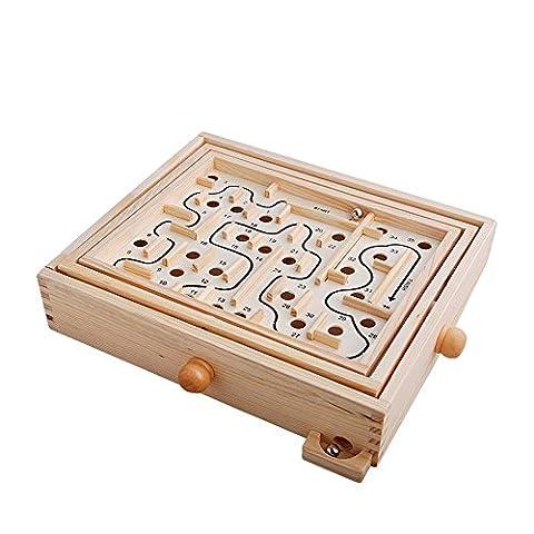 Wooden Labyrinth Maze Toys ,Iron Ball Labyrinth Puzzle Maze - Smith Maze Audio