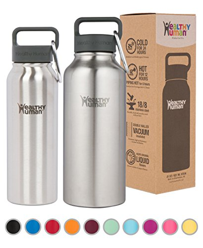 Healthy Human Stainless Steel Insulated Travel Sports Water Bottle Thermos - Leak Proof - No Sweating, Keeps Your Drink Hot & Cold - Brushed Steel - 40 oz