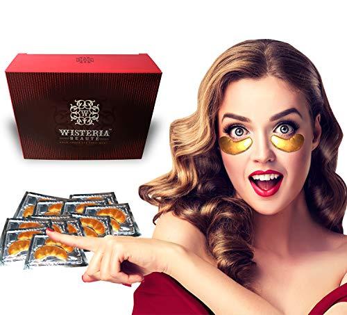 51hxZjZp7PL - Wisteria Beaute Luxury 24k Gold Anti-Aging Eye Masks, Under Eye Patches/Under Eye Masks for Puffy Eyes & Under Eye Bags Treatment, Improves Elasticity (15 Pairs)