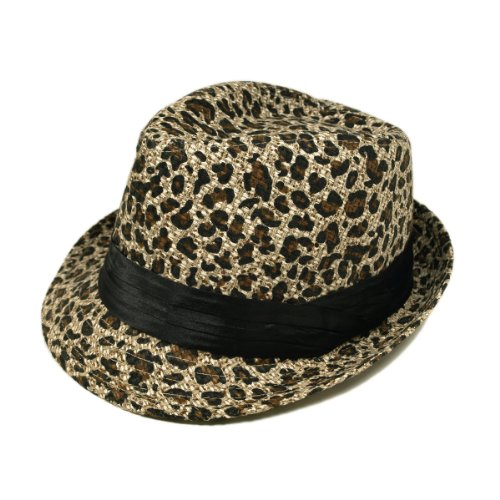 Beige & Black Leopard Cheetah Print Black Band Fedora Straw Hat