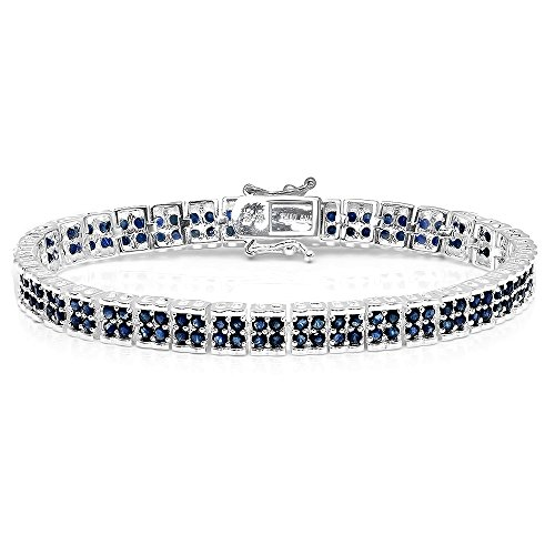 7.00 Carat (ctw) Sterling Silver Real Round Cut Genuine Blue Sapphire Ladies Tennis Bracelet by DazzlingRock Collection