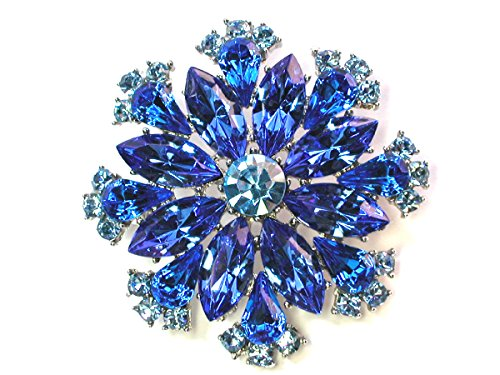Faship Gorgeous Sparkling Crystal Floral Pin Brooch (Blue) (Plated Brooch Blue)