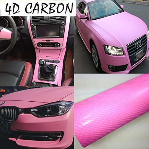 DIYAH 4D Pink Carbon Fiber Vinyl Wrap Sticker with Air Realease Bubble Free Anti-Wrinkle 12