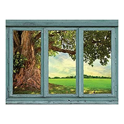 Lovely Craft, Old Knotted Tree with Winding Roots and Green Leaves on The Edge of a Verdant Field Wall Mural, Professional Creation
