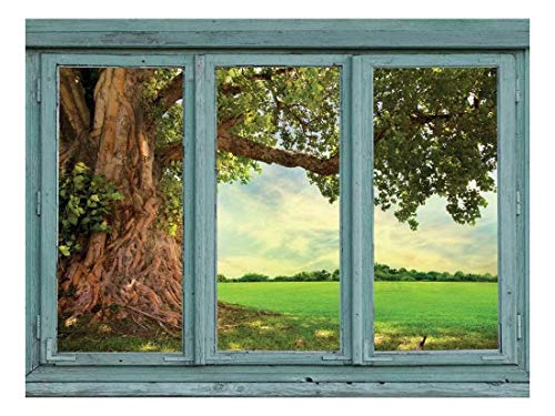 wall26 - Old Knotted Tree with Winding Roots and Green Leaves on The Edge of a Verdant Field - Wall Mural, Removable Sticker, Home Decor - 36x48 inches