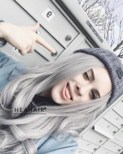 Heahair Fashion Natural Hairline Colorful Synthetic Lace Front Wigs For Women (Silver Wave)