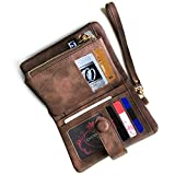 Women's Small Bifold Leather wallet Rfid blocking Ladies Wristlet with Card holder id window Coin Purse (Brown)