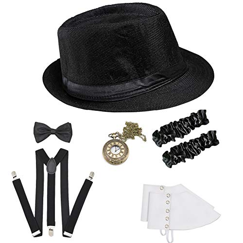 ICEVOG Mens Roarinng 1920s Great Gatsby Accessories Set Retro Panama Newsboy Gangster Costume from ICEVOG