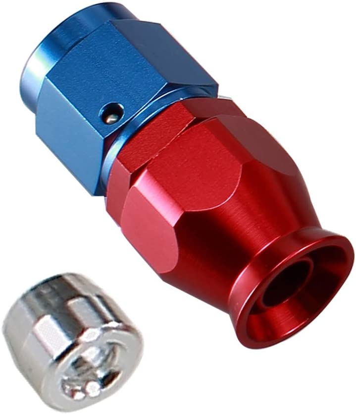 Red Blue 3AN PTFE Fuel Line Hose End Fitting for Teflon Hose Aluminum 45 Degree Swivel Female