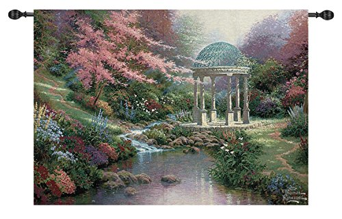 Thomas Kinkade Pools of Serenity Garden Cotton Tapestry Wall Hanging 50