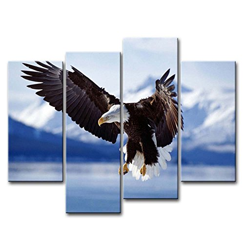 4 Piece Wall Art Painting Bald Eagle In Flight To Alaska Pictures Prints On Canvas Animal The Picture Decor Oil For Home Modern Decoration Print