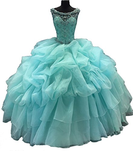 Scoop Formal Prom Ball Gown Crystals Illusion Sweetheart Puffy Evening Dress by BridalAffair