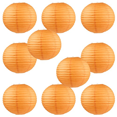 WYZworks Round Paper Lanterns 10 Pack (Orange, 10