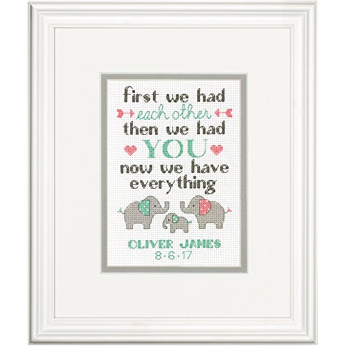 Dimensions Counted Cross Stitch Kit, Baby Elephant Birth Record Personalized Baby Shower Gift, 14 Count Ivory Aida, 7