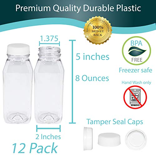 Pack of 48 Empty PET Plastic Juice Bottles - 8 oz Reusable Clear Disposable Milk Bulk Containers with White Tamper Evident Caps by Upper Midland Products (Image #2)