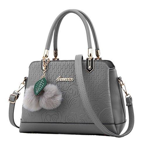 a Borse Grigio PU Scuro Borse Sentao Pelle Tote Bag Messenger Borsa Mano Moda Donna in wzqEq6