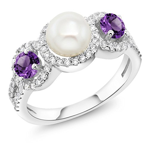 Cultured Freshwater Pearl and Purple Amethyst 925 Sterling Silver Ring (1.30 Ct Round, Gemstone Birthstone Available in size 5, 6, 7, 8, 9) - Amethyst Pearl Jewelry
