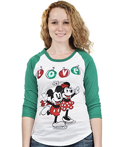 [Disney Mickey & Minnie Mouse Christmas Love Juniors Slim Fit Long Sleeve Tee - Red Green Xs] (Minnie Mouse Nose)