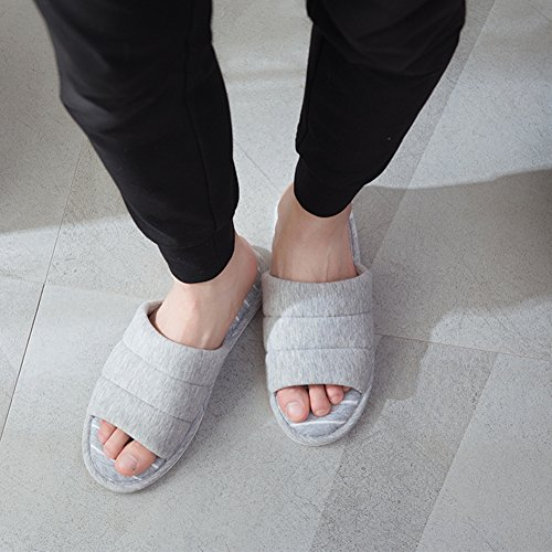 Feicy Grey Slippers Slip House Shoes Memory on Slippers Indoor Toe Open Foam Soft Womens Cotton rnfzvWq6rF