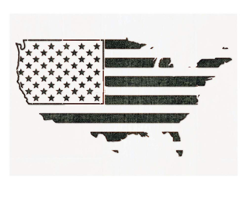 OBUY Large American Flag map Stencil for Painting on Wood, Fabric, Walls, Airbrush + More | Reusable 10.5 x 14.82 inch Mylar Template