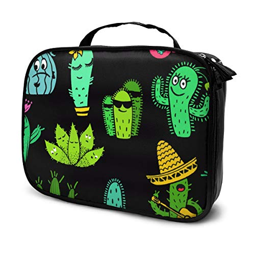 Cartoon Funny Cactus Cosmetic Bag for Women Adorable Roomy Makeup Bags Travel Toiletry Bag Accessories